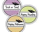 PRINTABLE Halloween Labels, Happy Halloween Labels, DIY Halloween Stickers, Halloween Tag, Halloween Treat Bag Tags, Bat Favor Tags