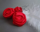 Red Hand Folded Rosette Hair Clip with White Feather