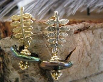 Little branch earrings, gold plated earrings, pearl earrings,