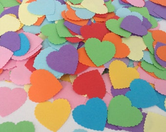 Rainbow Paper Heart Handmade Confetti- Vintage Shabby Chic - wedding confetti baby shower decoration table scatters gay marriage mardi gras
