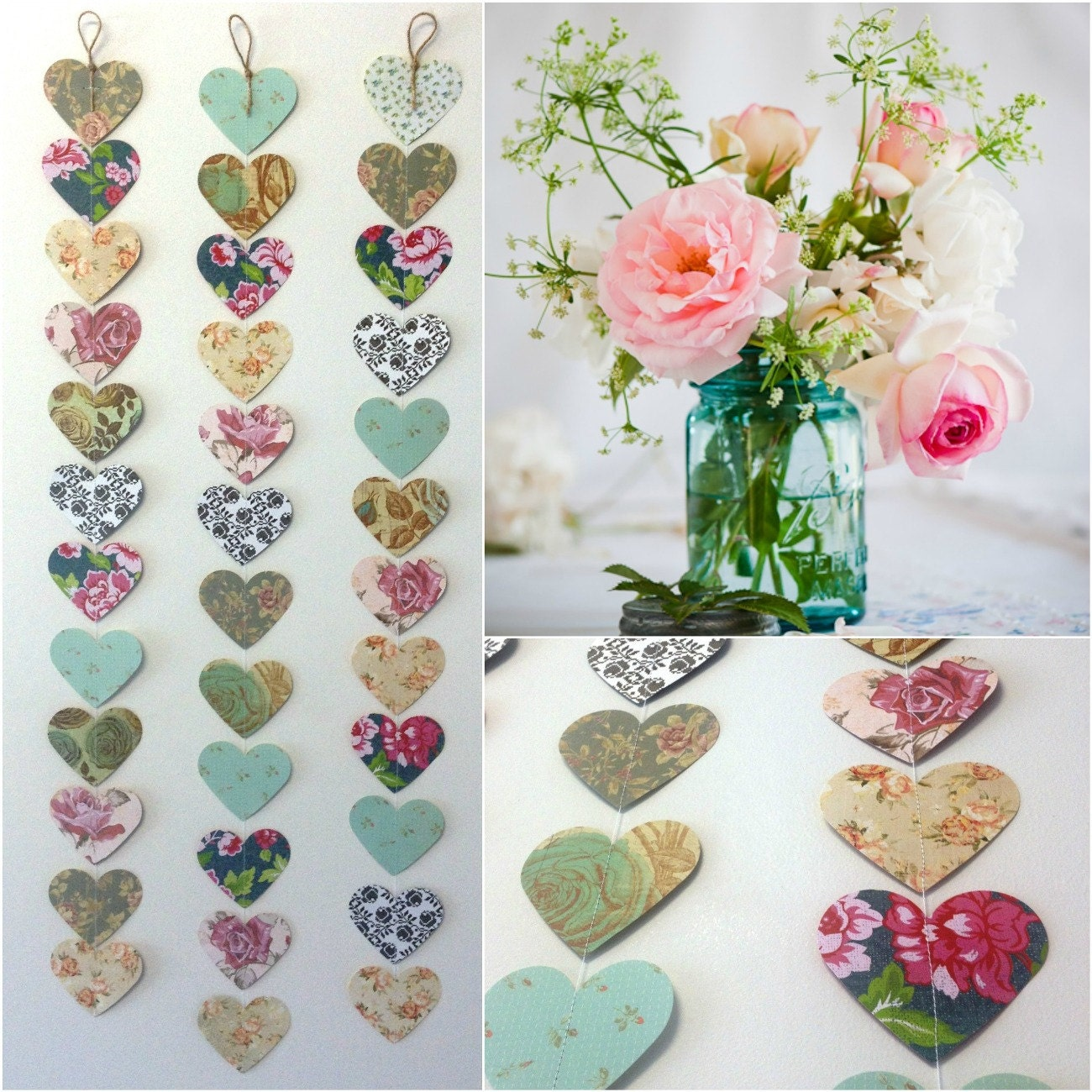 Kitchen Tea Decoration Ideas: Vintage Roses Paper Heart Garland Shabby Chic Wedding