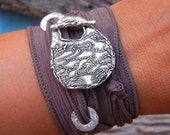 Silk Wrap Bracelet Gift, Ocean Jewelry, Nautical Jewelry, Ocean Silk Wrap Bracelet, Sterling Silver Nautical Jewelry Bracelet