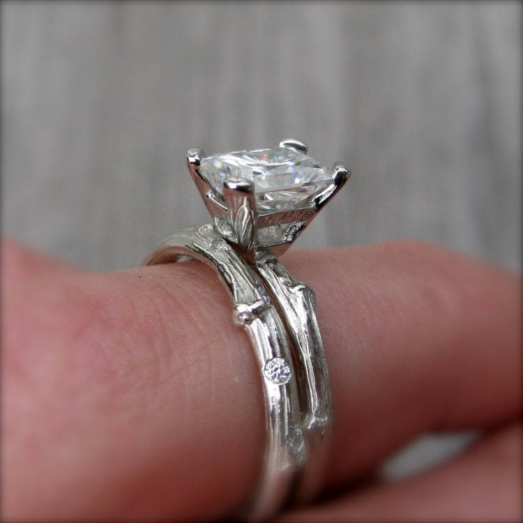 Emerald Cut Moissanite Twig Engagement Ring By Kristincoffin