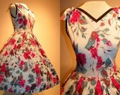 1950's Bold ROSE Print Cotton Cocktail Garden Floral Dress Vintage 50's Novelty Roses Bows Couture Printed Full Skirt Mad Men Party Dress