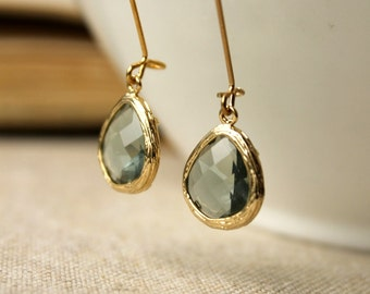 Grey Framed Glass Dangle Earrings / Elegant Gray Earrings / Gold Framed / Drop Earrings / Charcoal Grey Glass Earrings / Gold Brass Earrings