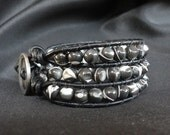 Black and White Beaded Cuff Bracelet