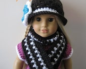 PATTERN in PDF -- Crocheted Doll Scarf with a flower for American girl, Gotz or similar 18 inches dolls (Doll Scarf 3)