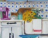Art Print of Interior Country Home, Blue and White, Farmhouse Home, Wall Art, ESPRESSO MORNING, Simple Life