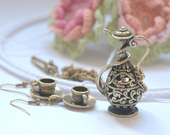 Tea pot  and cup necklace earrings set Alice in Wonderland tea party Valentine's jewelry charm pendant Weddings Birthday gift for her love