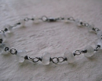 Moonstone Bracelet - Oxidized Sterling Silver, Gemstones, Rustic