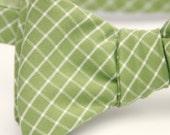 olive green lattice freestyle bow tie
