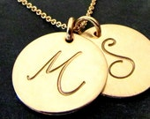 Gold Initial Necklace   Two Charm Necklace   Gold FIlled (14K GF) Pendant Chain Necklace   LYLA by E. Ria Designs