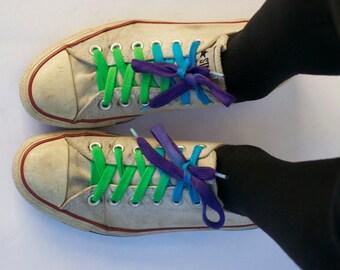 Green/Turquoise/Purple Shoe Laces-Long