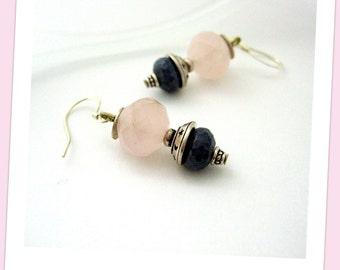Earrings- Rose Quartz - Lapis Lazuli - Sterling Silver