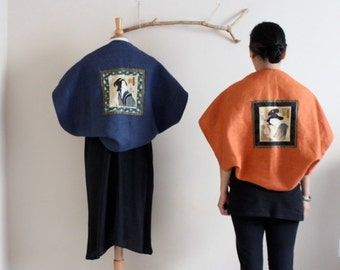 handmade geisha mid weight linen shawl coat by annyschoo
