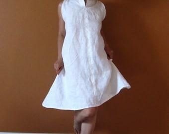 custom  chipao collar slim shoulder linen  tunic length dress