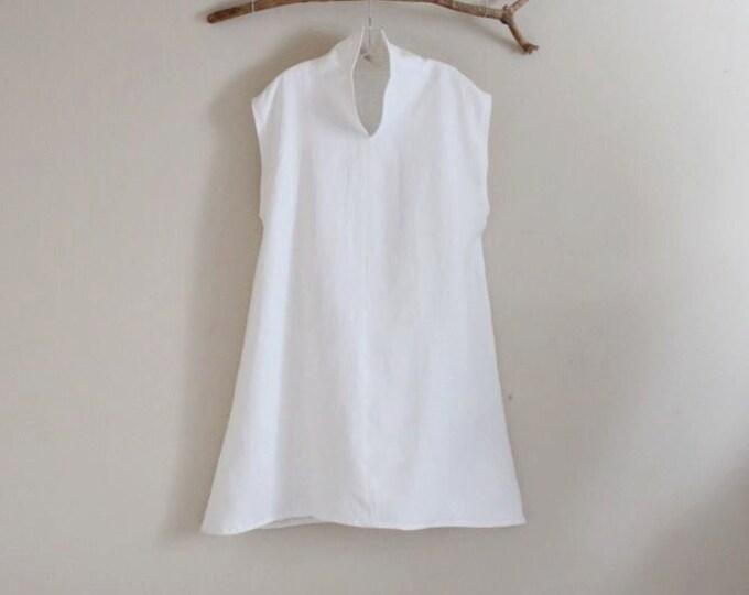 custom cloud chipao collar heavy weight  linen tunic