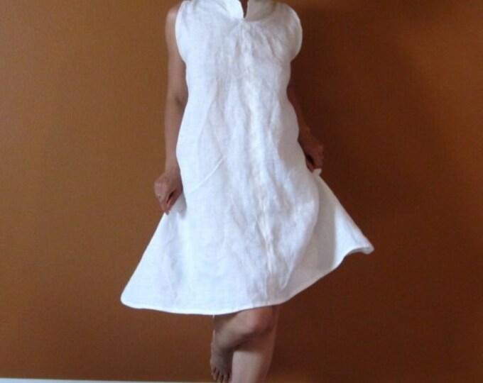 custom chipao collar slim shoulder linen  tunic length dress / short dress / sleeveless linen dress / linen wedding / linen party