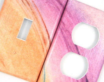 Watercolor-ish Light Switch Cover Outlet Cover Switchplate -- Warm Tones