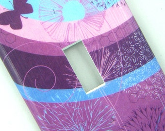 Light Switch Cover Switchplate -- Purple Butterflies and Dandelions