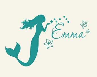 Kids mermaid decor monogram wall de cal personalized coastal sign