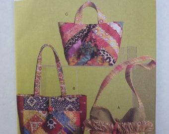 2000s UNCUT Vogue Accessories B. Randle Designs Pattern V8484 Crazy Quilt Purses Handbags