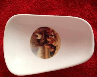 """Ceramic Spoon Rest with a Rooster Family   5"""" Long And 3 1/2 """" Wide At Top of Spoon"""