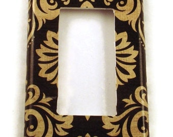 Rocker Light Switch Cover Wall Decor Switchplate Switch Plate in Black and Tan Damask (089R)