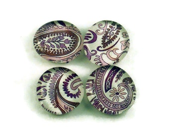 Glass Refrigerator Magnets Funky Fridge Magnets in Purple Paisley    (M39)