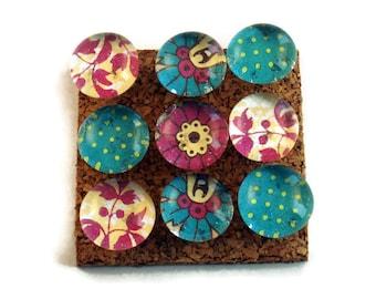 Decorative Glass Push Pins  Thumb Tacks Cork Board Pins in Funky Vintage  (P13)