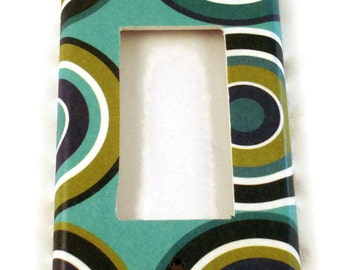 Rocker Light Switch Cover  Wall Decor Single Switchplate  Switch Plate in Turquoise Mod  (123R)