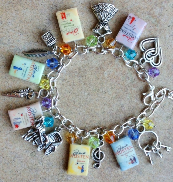 ADULT SIZE Jane Austen Books Fringe Charm Bracelet
