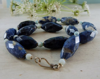 Chunky Sodalite Amazonite Necklace with Sterling Silver