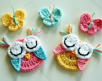 Crochet Owls and Butterflies in Pastels