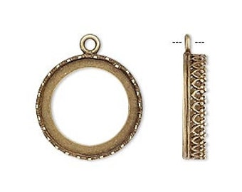 One Antiqued Brass Round Bezel, 18mm with a decorated edge.