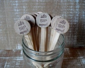 Wooden Drink Stirrers Personalized for Wedding Coffee Stirrer Stir Sip Repeat - Set of 25 - Item 1581