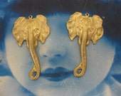 Natural Raw Brass Large Elephant Head Pendants with Loop 590RAW x2