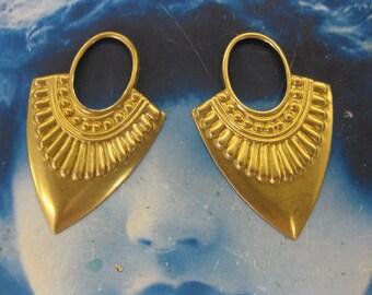 Natural Raw Brass Ornamental Drop 501RAW  x2