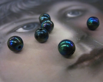 Vintage 6mm Glass Jet Black AB Beads 797VIN x8