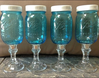 6 Mediterranean Blue Mason Jar Wine Glasses with Turquoise or Fresh Water Pearls and WHITE Lids