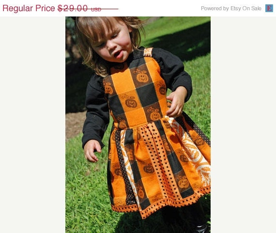 On Sale Christmas in July Ready to Ship Halloween Fabric Strip Style 2 3 Custom Boutique Jumper Dress Sale Free Shipping