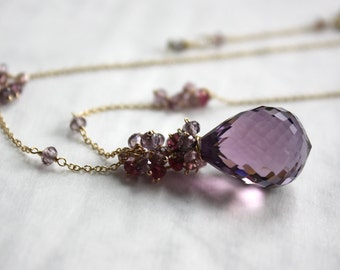 Amethyst Necklace with Spinel and Tourmaline in 14K Solid Gold
