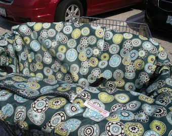 Shopping Cart cover for boy or girl....Disc Medallion in Pine... boutique shopping cart cover