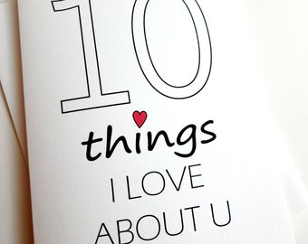 10 Things I Love About You card - Anniversary - Birthday - Wedding - Groom