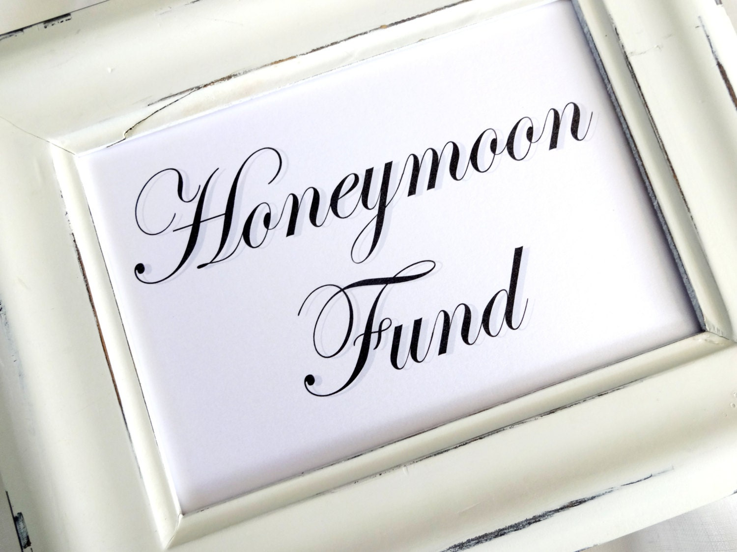 Honeymoon Fund. Wedding Sign White or Ivory