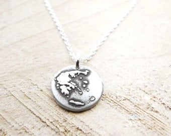 Tiny map of Greece necklace, silver map jewelry