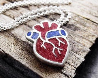 Anatomical heart necklace - silver and concrete - human heart  jewelry medical heart, concrete jewelry, gift for her
