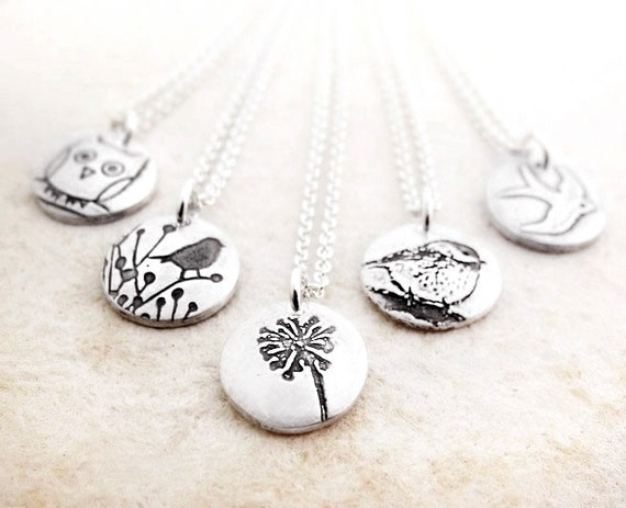 Bridesmaid necklaces, silver, Set of 5 your choice of design. Wedding jewelry