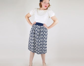 40s Tina Leser for Foreman Navy & White Embroidered Rayon Skirt S