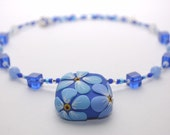 Unforgettable collection - square forget-me-not necklace in blues and white
